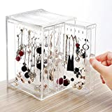 Careshine Acrylic Jewelry Storage Box,Earring Display Stand Earring Organizer Holder Hanger Earring Studs with 3 Vertical Drawer
