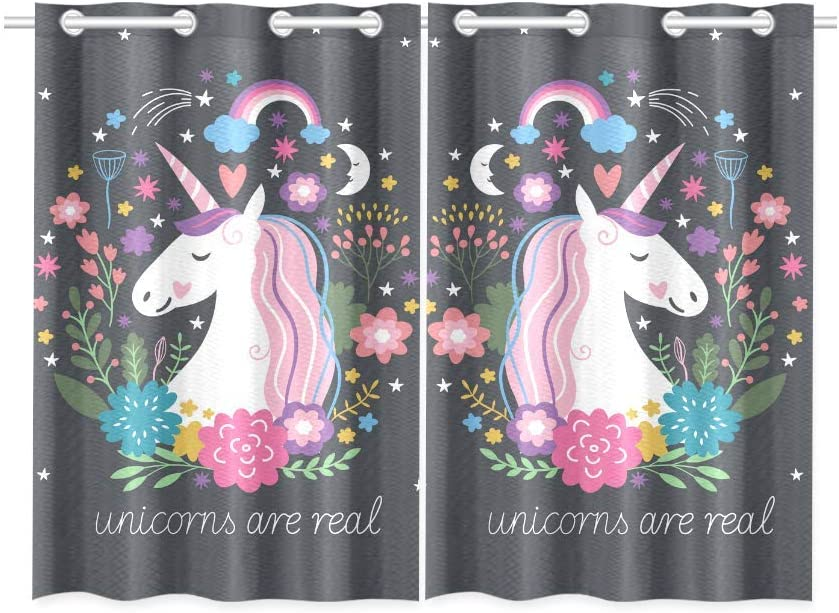 Amazon Com Interestprint Blackout Window Curtains Unicorn Are Real Room Bedroom Home Living Short Drapes Curtains 52x39 Inch Home Kitchen