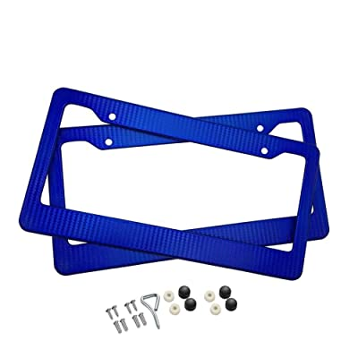 BLVD-LPF OBEY YOUR LUXURY Car Carbon Fiber Painted Style Blue Front Rear License Plate Frame Cover with Screw (Pack of 2): Automotive
