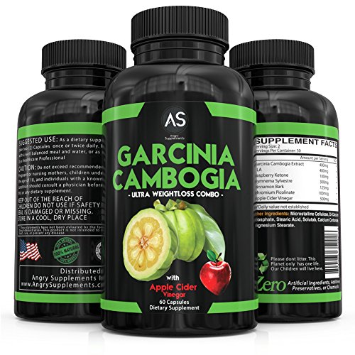 Angry Supplements Garcinia Cambogia With Apple Cider Vinegar Pills for Weightloss - Best Natural Detox Remedy Includes Gymnema, Cinnamon, & Ketone for A Complex Diet, Health, and Nutrition (3-Pack)