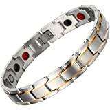 Men Sleek Magnetic Therapy Bracelet in Velvet Gift Box with Free Link Removal Tool