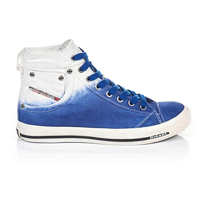 Diesel Marcas de Zapatillas de Mujer Zapatillas Basket de Botas Azul Degradado de Color Blanco, Color Azul, Talla 37 EU: Amazon.es: Zapatos y complementos