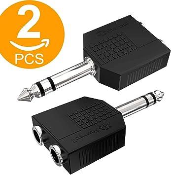 1//10,2/cm prise mono vers jack st/ér/éo 3,5/mm adaptateur Lot de 5 ACT Plaqu/é or 6,35/mm