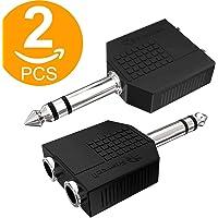ACT Lot DE 26,35mm 1/10,2cm Mono Prise Jack vers Double 6,35mm 1/10,2cm Mono Prise Jack Adaptateur Répartiteur