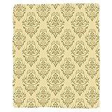 VROSELV Custom Blanket Beige Regular Damask Patterns Islamic Antique Lace Floral Patterns Oriental Style Decorative Art Soft Fleece Throw Blanket Beige