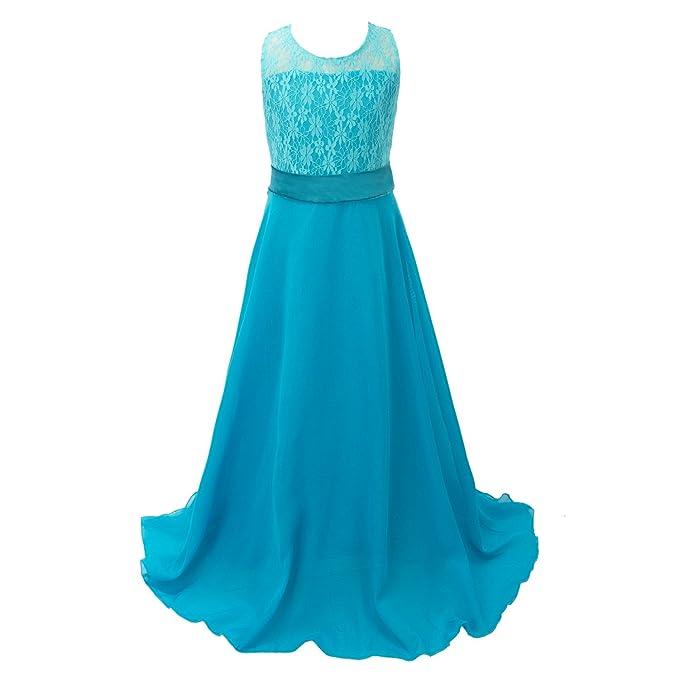 Disco Ball niña gasa Flores suelo largo vestido azul 5-6 Años