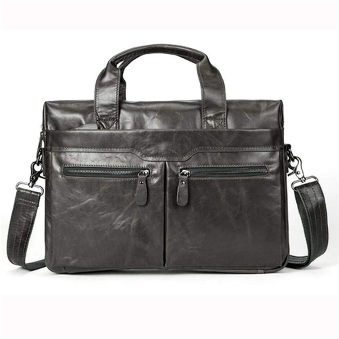 Men Laptop Messenger Bag Men's Genuine Leather Shoulder Bags Briefcase For Documents 9005gray