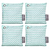 freezer air freshener - 4 Pack - 200g Activated Charcoal Deodorizer Odor Neutralizer Bags, Unscented Air Freshener, Car Freshener, Moisture Absorber, 100% Chemical-Free Odor Eliminator, Teal Pattern, by California Home Goods