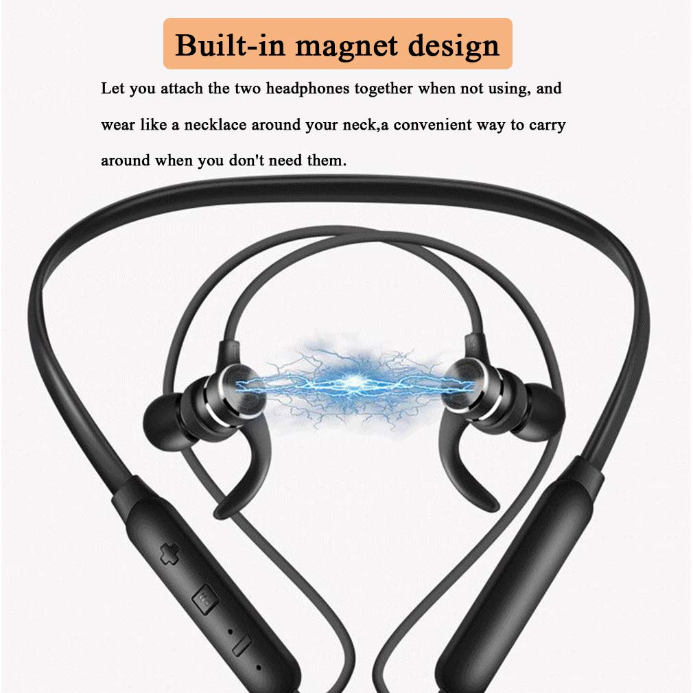 XUNMAIF BTE Bluetooth Headphones 4.2,Wireless Stereo Magnetic Sports in-Ear Earbuds with Built-in Mic,CVC 6.0 Noise Cancelling and 14-Hour Playtime,for Running,Swimming,Gym,Work