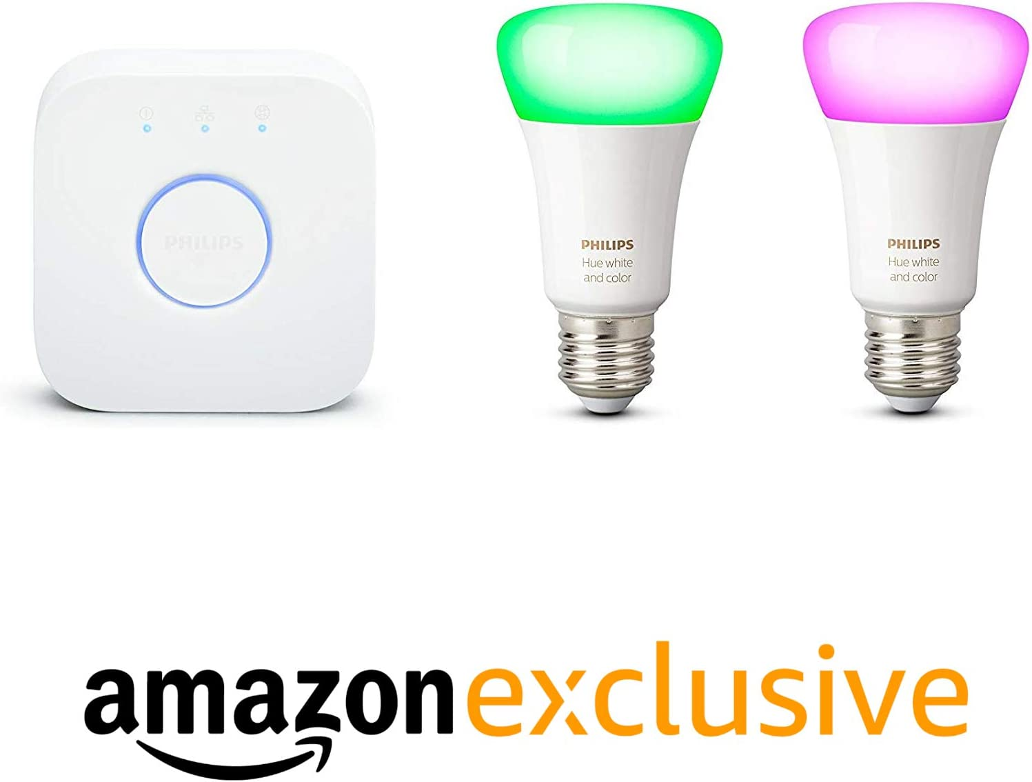 Philips Hue Bluetooth Pack 2 Bombillas Inteligentes LED E27 y Puente, Luz Blanca y de Colores, Compatible con Alexa y Google Home