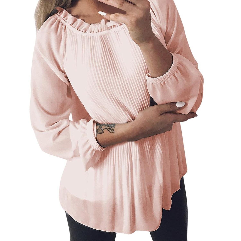 21b8e17513dbd new Mr. Macy New Fashion Women s Solid Ruffled Long Sleeve o-Neck Shirt  Pullover
