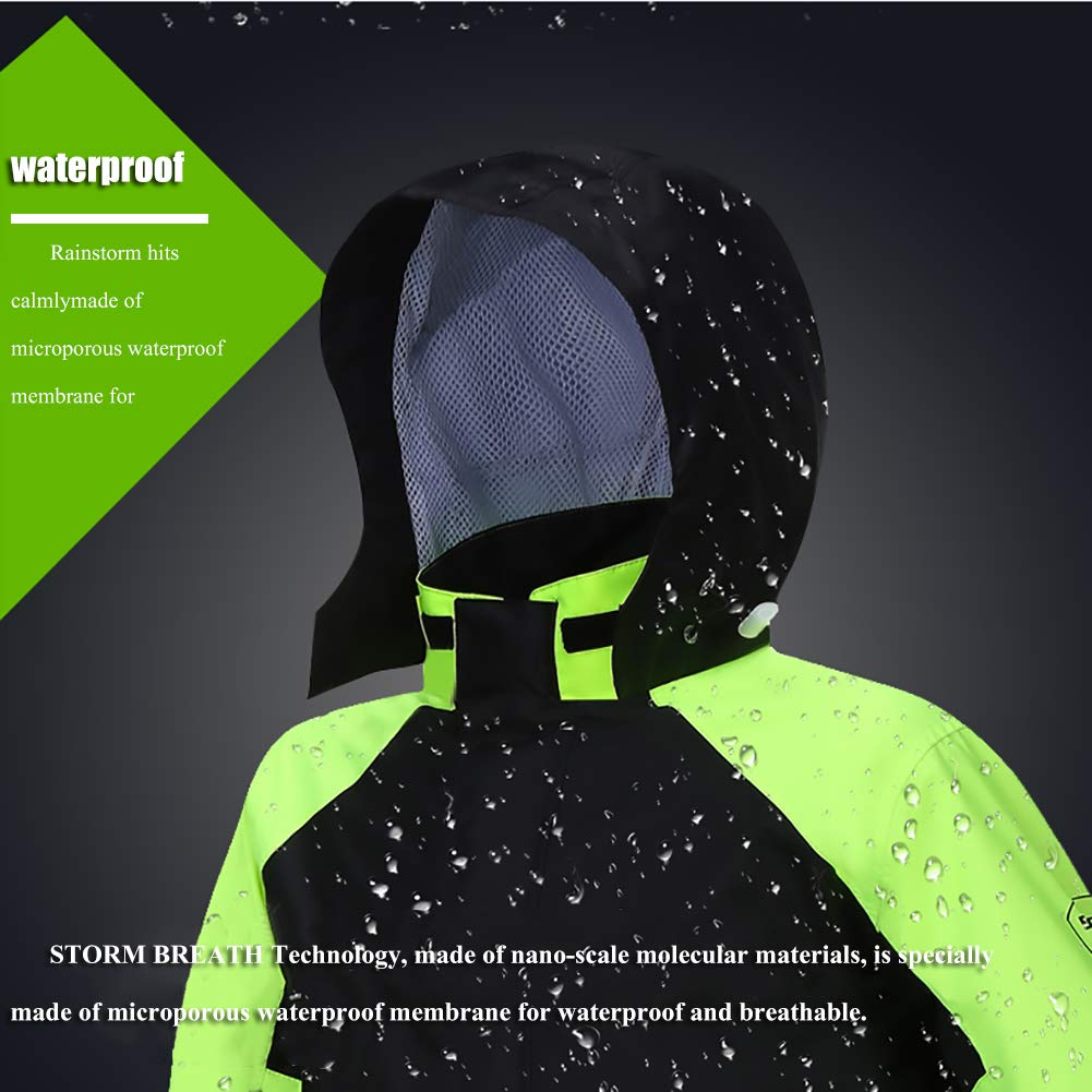 2 Piezas Traje de Agua//Conjunto Lluvia Alta Visibilidad con Bandas Reflectantes - Chubasquero Adulto para Montar en Moto Pantal/ón y Chaqueta