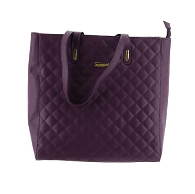 dc12f93c44b103 Amazon.com: Joy IMAN Quilted Genuine Leather Tote Bag RFID Eggplant One  Size New 581-910: Clothing