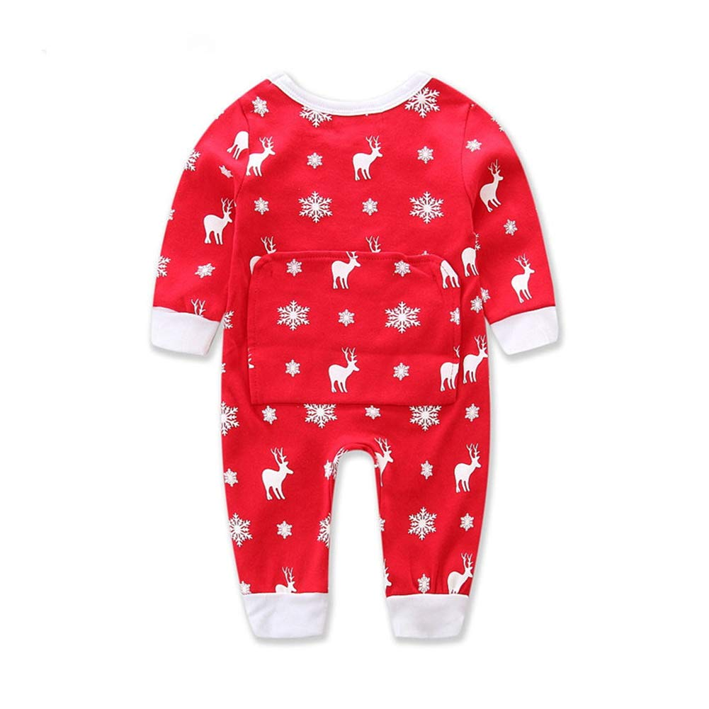 Comfydot Baby Unisex Romper Jumpsuit Clothes Reindeer Red White 6-12 Months