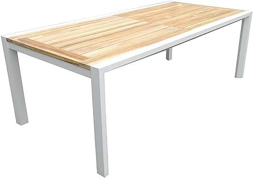 Mesa de jardín madera rústico outliv. Exeter – Mesa extensible 220/340 x 106 cm Aluminio/ – Mesa jardín Terraza mesa Balcón Mesa Exterior de madera de madera de teca maciza: Amazon.es: Jardín