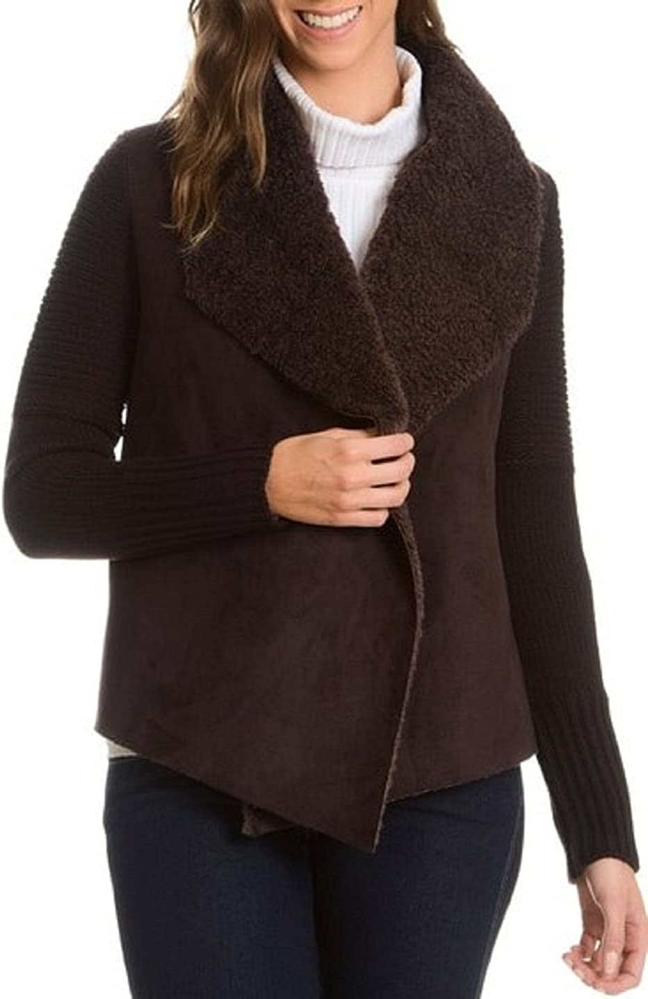 Chelsea and Theodore Womens Knit Faux Suede and Faux Fur Jacket