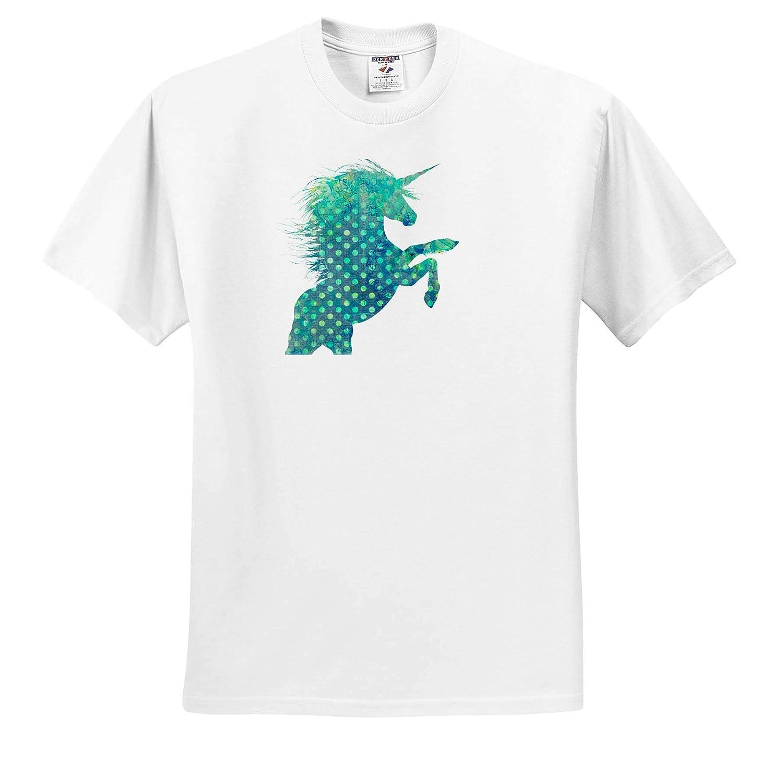 Blue Polka Dot Boho Unicorn Adult T-Shirt XL 3dRose Cassie Peters Unicorns ts/_309328
