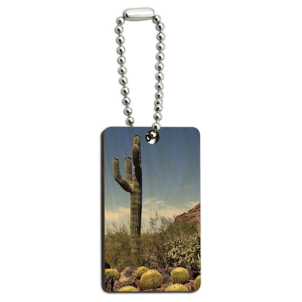 Saguaro Cactus National Park Arizona Wood Wooden Rectangle Key Chain