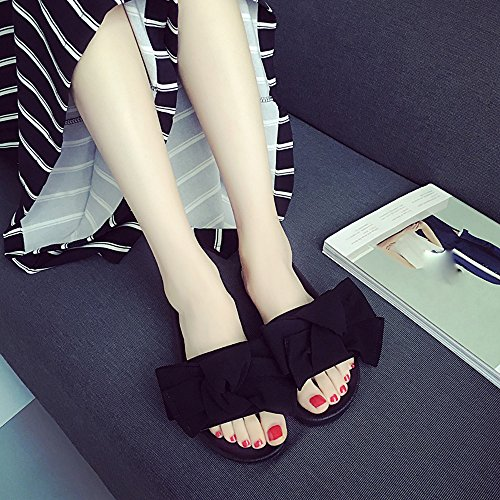 IGEMY Summer Women Bow Wedge Sandals Beach Shoes Flip Flops Platform Slippers Black a1zVyQP