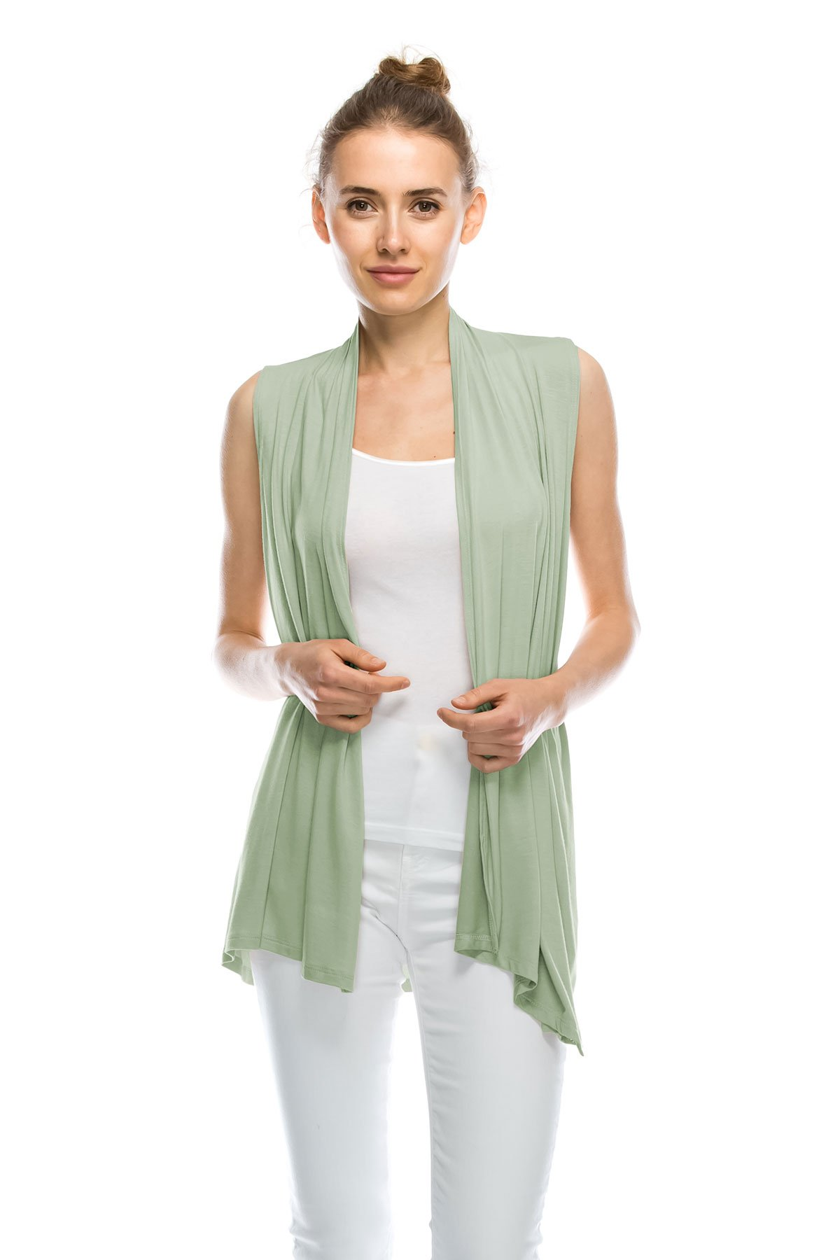 J Doe Style Womens Lightweight Sleeveless Open Front Cardigan, M, Sage