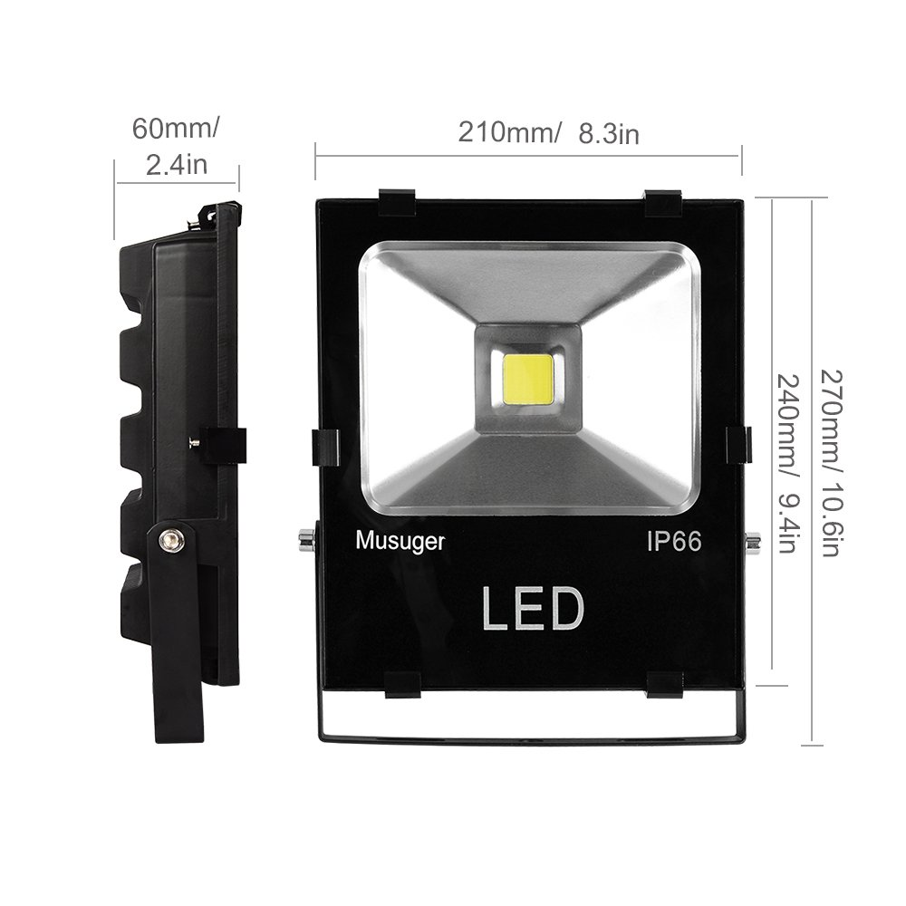 Musuger 50W High Power Outdoor LED Flood Light Daylight White 6000K, 4500lm, Waterproof IP66 Security Lights by Musuger (Image #3)