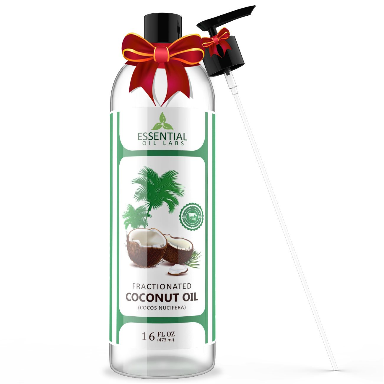 Fractionated Coconut Carrier Oil - Beauty in a Bottle - 100% Pure and Natural Therapeutic Grade - 16 oz with Premium Pump - Perfect for Aromatherapy, Massage, Hair and Skin Care by Essential Oil Labs
