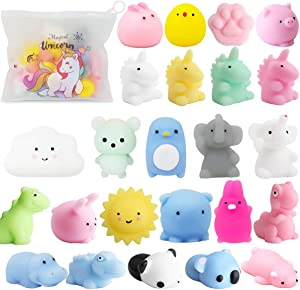 POKONBOY 25 Pack Mochi Squishy Toys-Mini Squishy Toys with Unicorn Bag Easter Party Favors for Kids Mochi Animals Squishy Panda Kawaii Squishies Stress Reliever Toys Easter Squishies