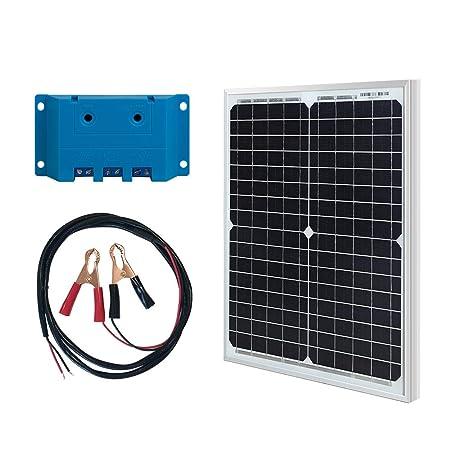 HQST Off Grid Polycrystalline Portable Solar Panel for RV Marine Boat 20W Mono Kit