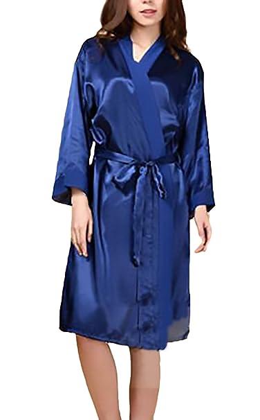 Batas Mujer Corto Kimono Elegantes Manga Larga V Cuello Color Solido Cómodo Sedoso Albornozes con Cinturón Ropa Dama Moda Fashionista Camisones: Amazon.es: ...