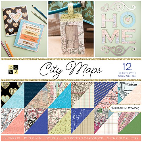 DCWV PS-002-00025 City Maps Paper Stack, Multicolor