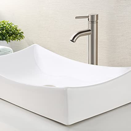 KES Bathroom Vessel Sink And Faucet Combo Rectangular White  Ceramic Porcelain Counter Top Vanity Bowl Sink Bowls On Top Of Vanity5