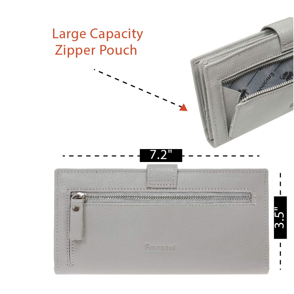 Slim Women's Leather Wallet (Light Grey) – RFID-Blocking Large Capacity Clutch with Phone Holder, ID Window – Premium Cowhide Leather Zippered Ladies Purse & Military Shielding Technology by Emanuel by Emanuel (Image #5)