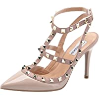 CAMSSOO Women's Classic Studded Strappy Pumps Rivets High Heels Stiletto Sandals T-Strap Shoes