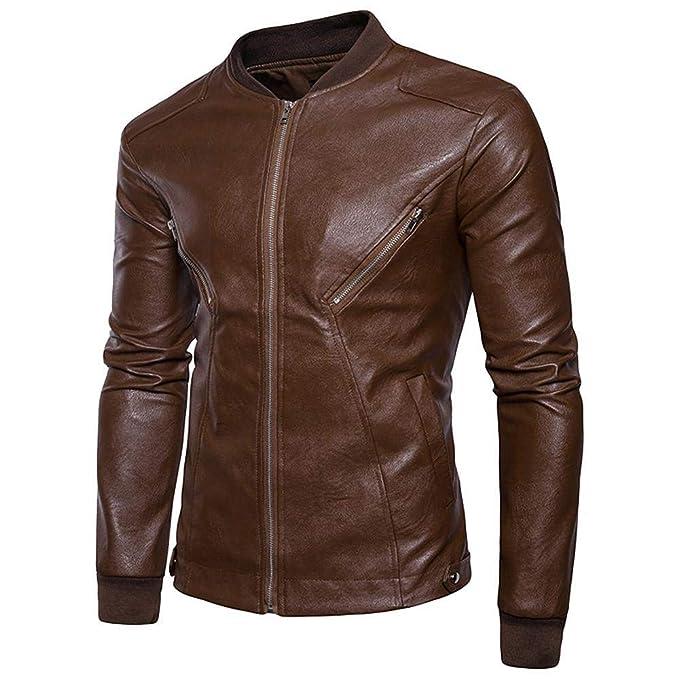 Logobeing Chaqueta de Cuero Hombre Moto Biker Motocicleta con Cremallera Deportiva Outwear Camisas Hombre Abrigos Tops Vaquera Chaquetas Blusa -Y44: ...