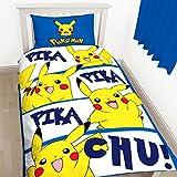 Pokemon Childrens/Kids Official Pikachu Reversible Single Duvet Set (Twin) (Blue/White/Yellow)