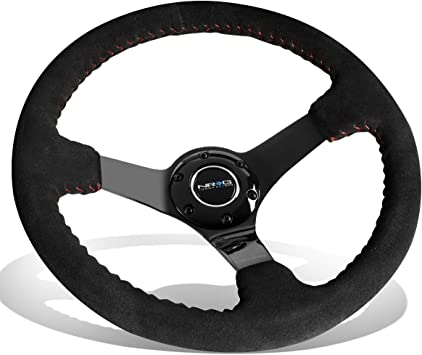 - Black Spoke Suede Black Stitch 3 Deep NRG Innovations RST-006-S Reinforced Steering Wheel 350mm Sport Steering Wheel