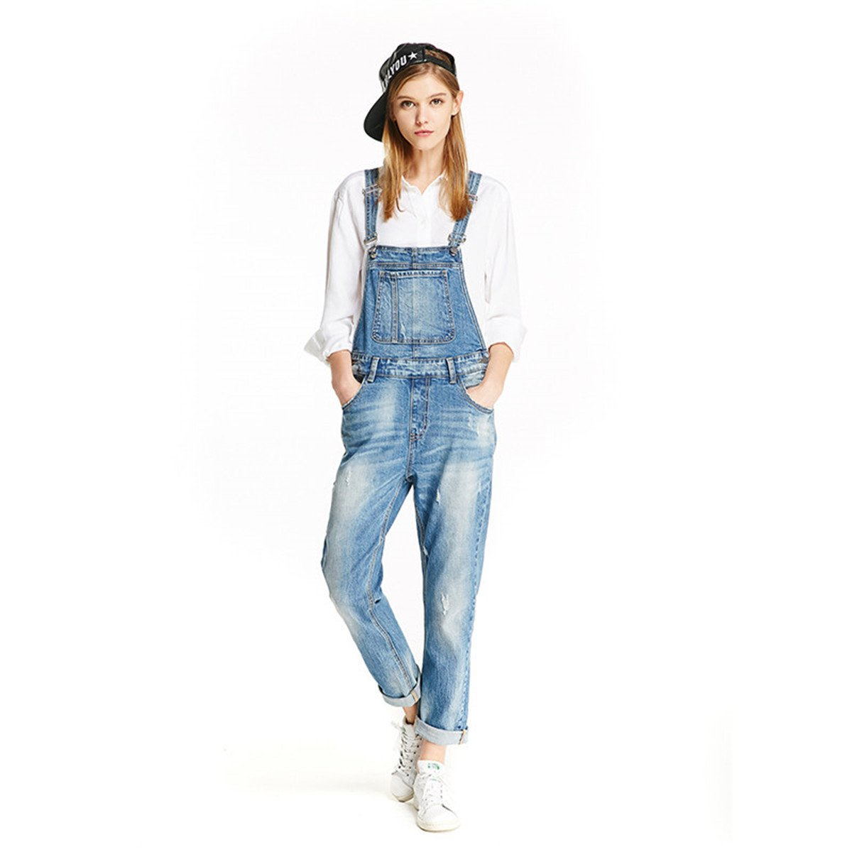 Women Clothing Blue Jeans Denim Overalls (S, Blue) by TRACK SEVEN