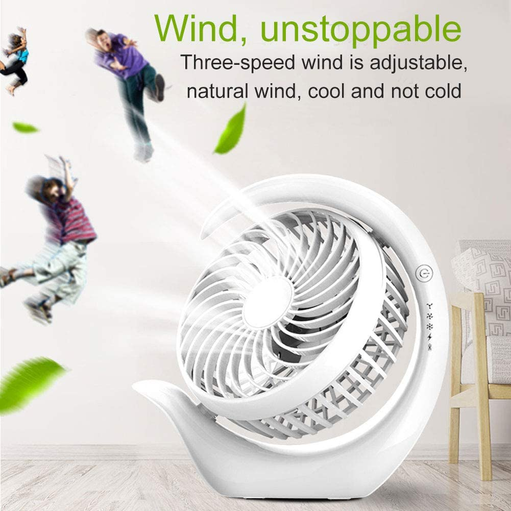 Jzenzero Portable Fan USB Charging Desktop Cooling Ultra-Quiet Fan for Student Dormitory