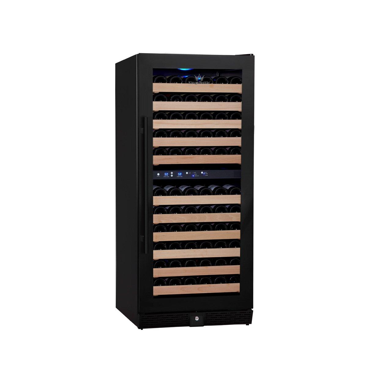 KingsBottle 106 Bottle Dual Zone Wine Cooler, Black with Glass Door by KingsBottle