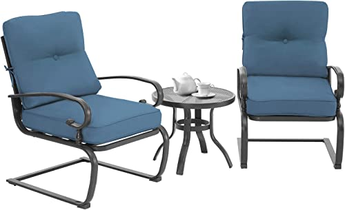 SUNCROWN 3-Piece Outdoor Patio Bistro Set Spring Metal Lounge Cushioned Chairs and Round Table-Cafe Furniture Seat Blue Cushion