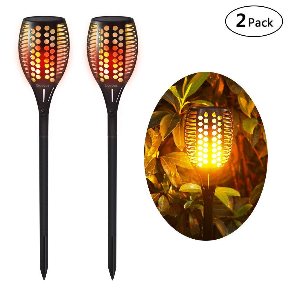 Ejoyous Solar Garden Lights, 96 LED Solar Powered Torch Light Pathway Lighting Dusk to Dawn Auto On/Off, IP65 Waterproof Flickering Flame Light (2 pack)