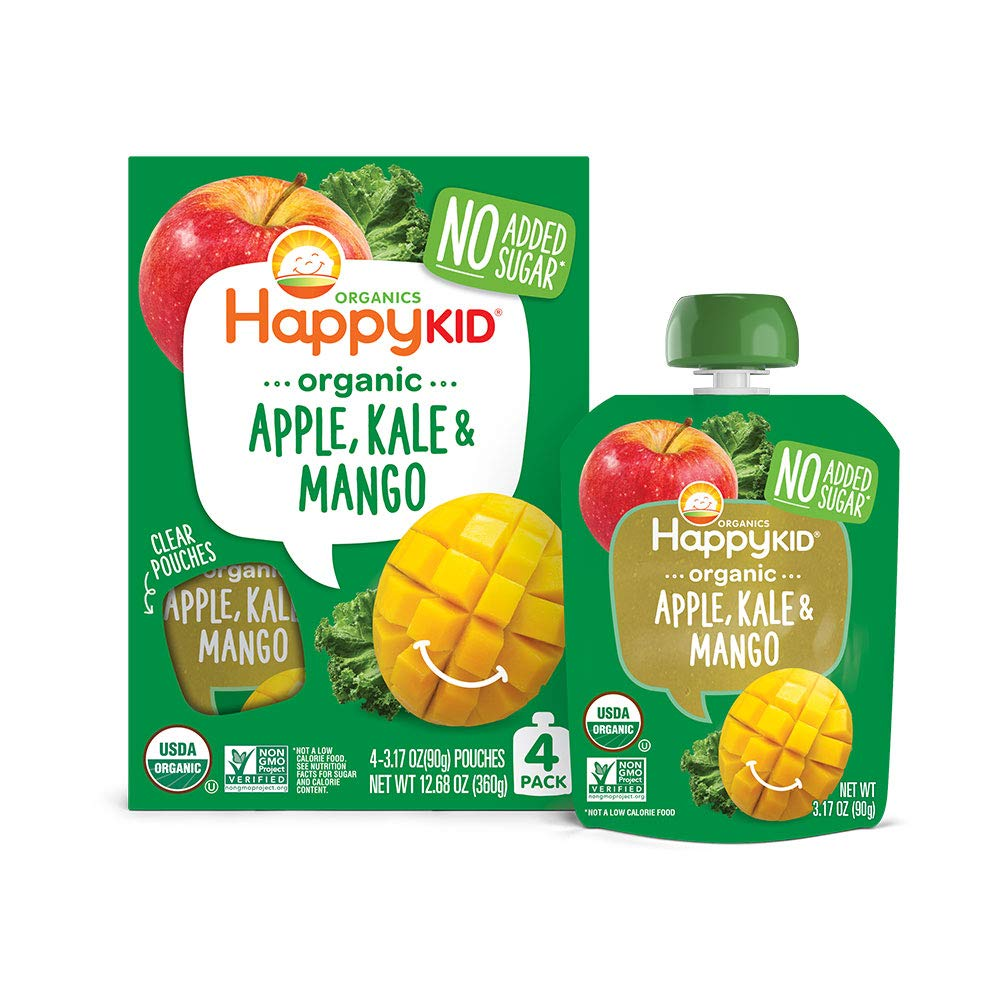 Happy Kid Organic Superfoods Twist Apple Kale Mango, 3.17 Ounce Pouch (Pack of 16) (Pack May Vary) Baby Toddler Kid Snack, Resealable, No Added Sugar Non-GMO Kosher (Packaging May Vary) by Happy Baby