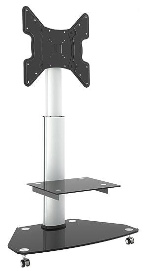 Ricoo Meuble Sur Pied Tv Roulettes Design Fs0200 Support En Verre