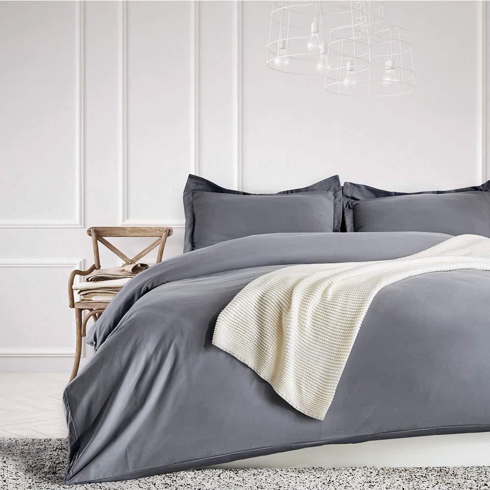 SLEEP ZONE Bedding Duvet Cover Sets 104x90 inch Temperature Management 120gsm Ultra Soft Zipper Closure Corner Ties 3 PC, Gray,King