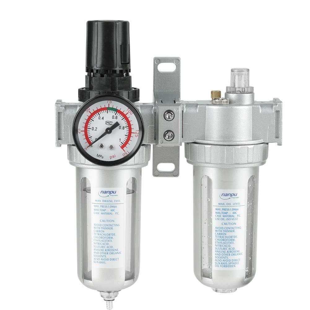 Luftfilterregler 1 2 Zoll Öl Wasser Regler Öl Wasserfilter Filtergenauigkeit 40um Einlass G1 2 Gewerbe Industrie Wissenschaft