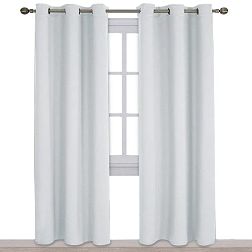 gray and white curtain panels moroccan print nicetown easy care solid thermal insulated grommet room darkening curtainsdrapes for bedroom 2 white blackout curtains amazoncom
