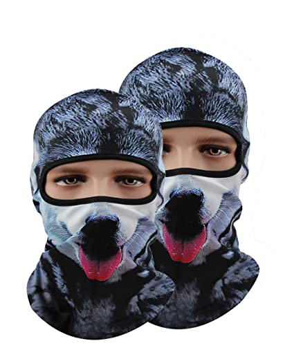 Amazon.com  Pack of 2 Polyester Bandana Ski Masks For Men Hat Motorcycle  Mask 3D Animal Cycling Ski Balaclavas  Automotive bbcde8959a5b