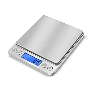 Food Scale, Cooking Scale, Digital Food Scale for Kitchen,Mini Jewelry Scale, Digital Gram Scale in Stainless Steel with 2 Plates 0.1g-3000g/6.6lb