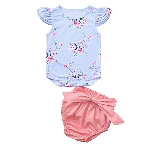 93abb0201a9 Fineser Newborn Infant Baby Girls Floral Print Romper Jumpsuit + Shorts  Summer Outfits Set (Blue