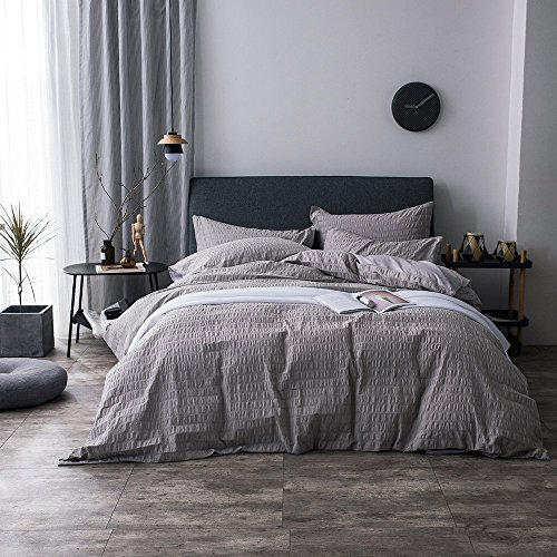 Cheap Lausonhouse 100% cotton woven Seersucker Stripe Duvet Cover Set - Full/Queen - Gray supplier